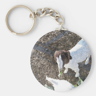 Baby Goat with Cabbage Leaves Keychain