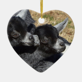 Baby Goats Heart Shaped Valentine's Day Christmas Ornament