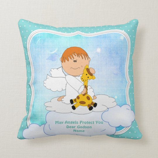 Baby Godson Gift Communion Baptism Cute Angel Cushion