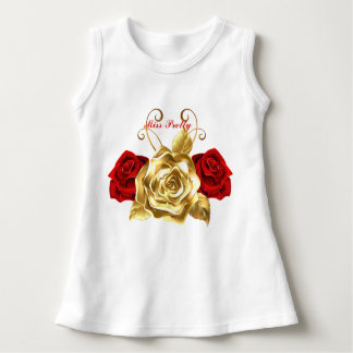 Baby Gold & Red Rose Miss Pretty Sleeveless Dress