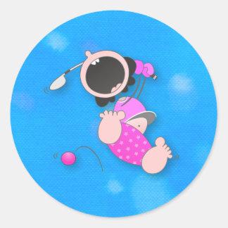 Baby Golfer Round Sticker