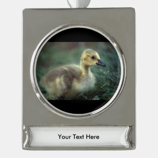 baby goose silver plated banner ornament