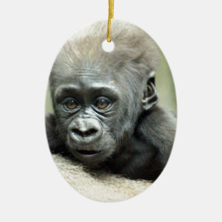 BABY GORILLA RELAXING CERAMIC OVAL DECORATION