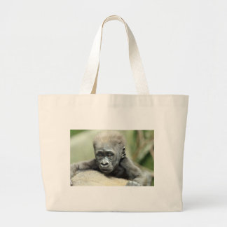 BABY GORILLA RELAXING LARGE TOTE BAG