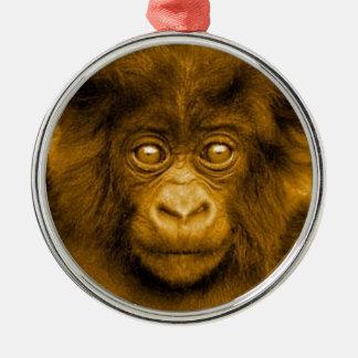 Baby Gorilla Sepia Color Christmas Ornament