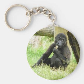Baby Gorilla Snacking Basic Round Button Key Ring