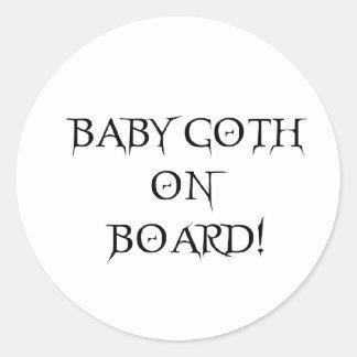 BABY GOTH ON BOARD! ROUND STICKER