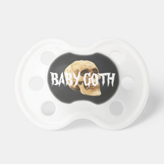 Baby goth text and skull baby pacifiers