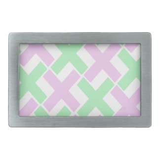 Baby Green and Lavender Xs Rectangular Belt Buckles