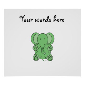 Baby green elephant posters