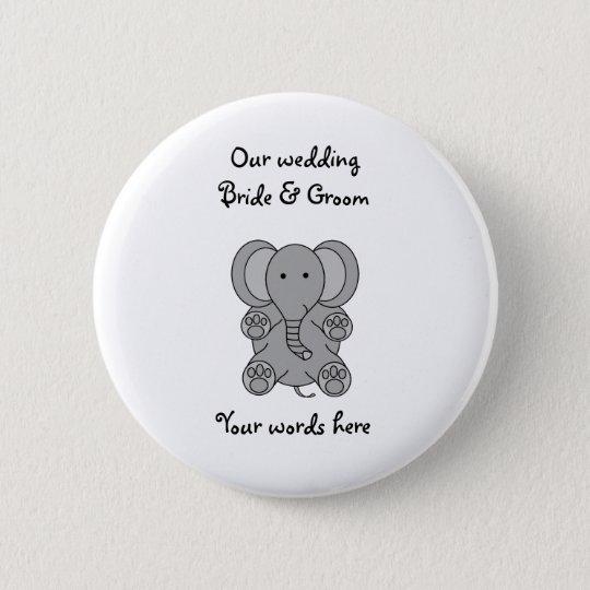 Baby grey elephant 6 cm round badge
