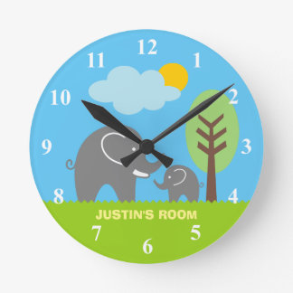 Baby grey elephant nursery wall clock for kids