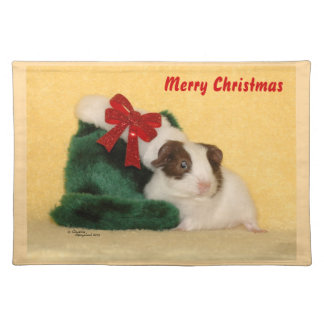 Baby Guinea Pig Merry Christmas Placemat