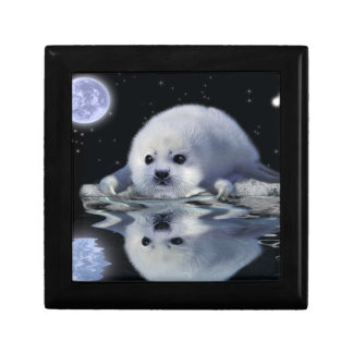Baby Harp Seal in Ice Floe Art Tile Gift Box