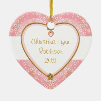 Baby Heart Photo Frame - Pink Floral Christmas Ornament