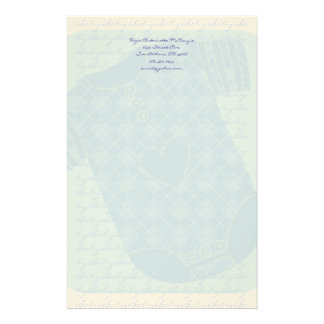 Baby Heart Rattle Argyle Onsie Baby Blue Customised Stationery