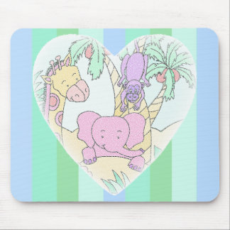 Baby Heart with Pastel Blue Green Stripes Mouse Pad