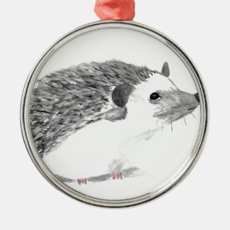 Baby hedgehog animal Silver-Colored round decoration