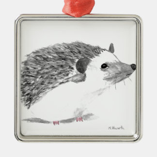 Baby hedgehog animal Silver-Colored square decoration