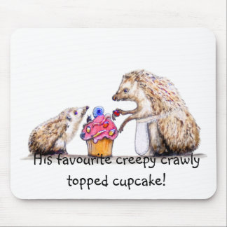 baby hedgehog with creepy crawly cupcake mouse pad