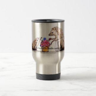 baby hedgehog with creepy crawly cupcake travel mug