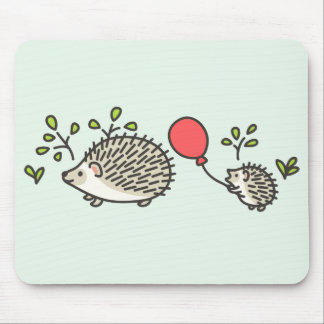 Baby Hedgehog's Red Balloon Mouse Pad