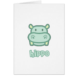 Baby Hippo Cartoon Greeting Card