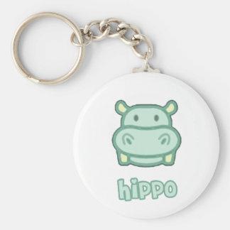 Baby Hippo Cartoon Basic Round Button Key Ring