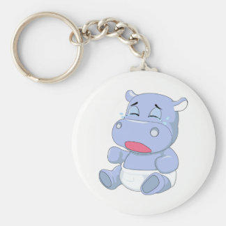 Baby Hippo Crying Basic Round Button Key Ring