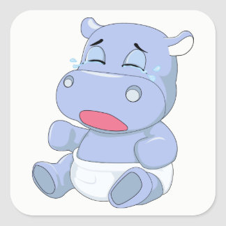 Baby Hippo Crying Square Sticker