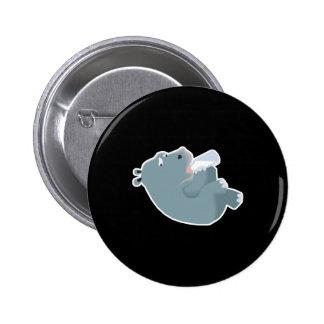 baby hippo drinking bottle 6 cm round badge