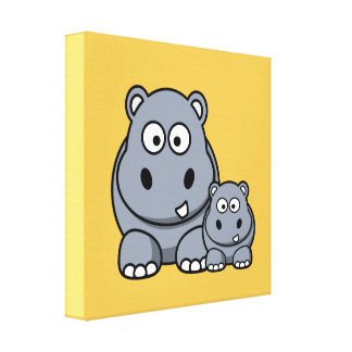 Baby Hippo Family, Cute Wild Safari Gallery Wrapped Canvas