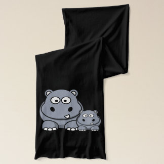 Baby Hippo Family, Cute Wild Safari Scarf
