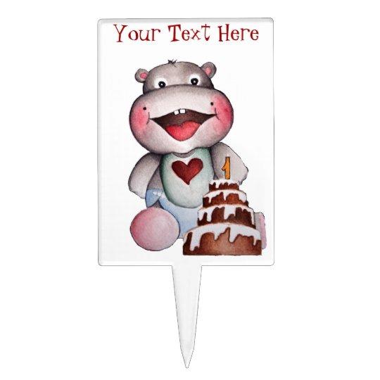 Baby Hippo First Birthday Cake Topper | Zazzle.co.uk