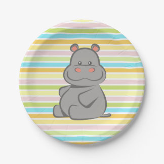 Baby Hippo Paper Plate
