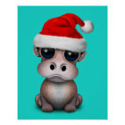 Baby Hippo Wearing a Santa Hat Poster
