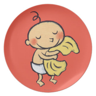 Baby Hugging Soft Yellow Blanket Plate