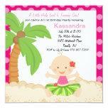 Baby Hula Girl  First Birthday Invitation 13 Cm X 13 Cm Square Invitation Card