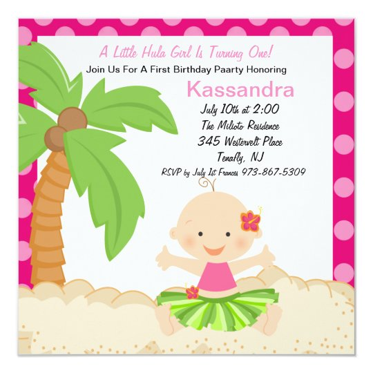 Baby Hula Girl First Birthday Invitation