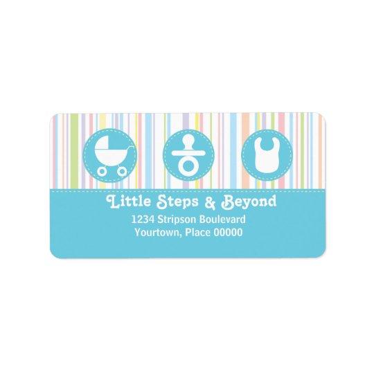 Baby Icon Trio Stripes Blue Address Address Label