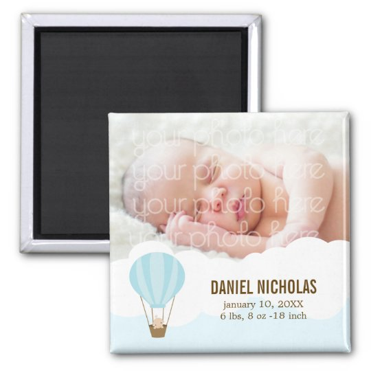 Baby in a Balloon Baby Birth Announcements Magnet