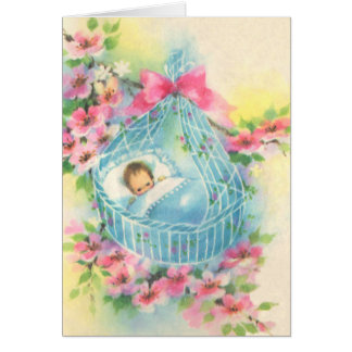 Baby in a Blue Basket Card
