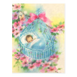 Baby in a Blue Basket Postcards