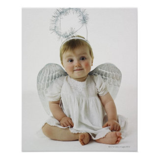 Baby in an angel costume poster