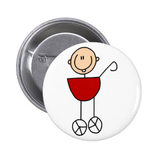 Baby In Carriage Stick Figure Button