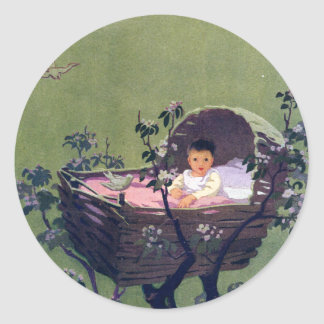 Baby in Cradle in Tree Lullaby Stickers