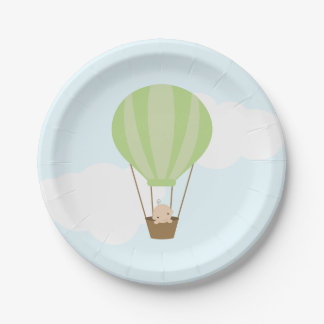 Baby in Green Hot Air Balloon Baby Shower Paper Plate