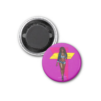 Baby in jeans 3 cm round magnet