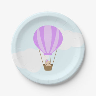 Baby in Lavender Hot Air Balloon Baby Shower Paper Plate