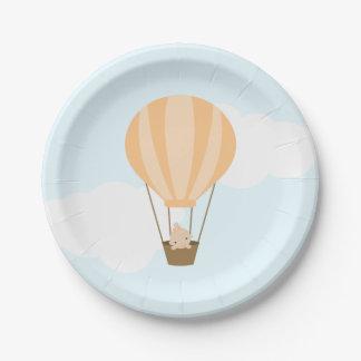 Baby in Orange Hot Air Balloon Baby Shower Paper Plate